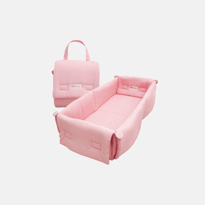Foldable Bumper Bed – Pink Dot